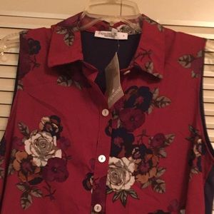 NWT Expected Lilac Clothing burgundy floral top S